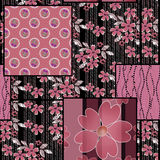 Patchwork seamless pattern background with cherries and flowers. Patchwork seamless pattern texture background with cherries and flowers print Stock Images