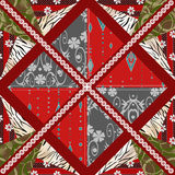 Patchwork seamless pattern background with decorative elements Stock Images