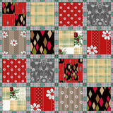 Patchwork seamless pattern background with decorative elements Royalty Free Stock Photography