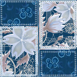 Patchwork seamless pattern background with decorative elements Stock Image