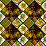 Patchwork seamless pattern background with flowers Royalty Free Stock Images