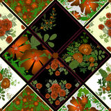Patchwork seamless pattern background with flowers Stock Photos