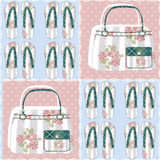Patchwork seamless pattern with bags and flip-flops Stock Photography
