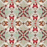 Patchwork seamless pattern with butterflies texture Stock Photography