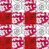 Patchwork seamless pattern checkered ornament retro background Stock Image