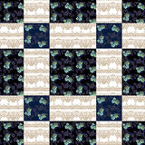 Patchwork seamless pattern checkered ornament retro background Royalty Free Stock Photos