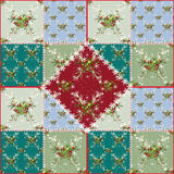 Patchwork seamless pattern with christmas tree and balls Royalty Free Stock Image