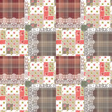 Patchwork seamless pattern circles checkered lace background Royalty Free Stock Photography