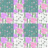 Patchwork seamless pattern circles and floral background Stock Images