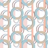 Patchwork seamless pattern circles on striped background Royalty Free Stock Photo