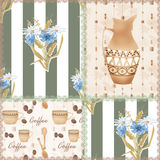 Patchwork seamless pattern with coffe cup, jug and flowers Stock Image