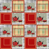 Patchwork seamless pattern with cup and pot Stock Photos