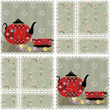 Patchwork seamless pattern with cup and pot Royalty Free Stock Images