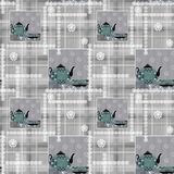 Patchwork seamless pattern with cup and pot on checkered Royalty Free Stock Image