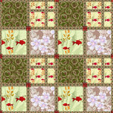 Patchwork seamless pattern with elements of flowers, circles and Royalty Free Stock Photos