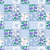 Patchwork seamless pattern floral elements Stock Images