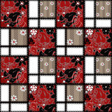 Patchwork seamless pattern floral ornament Royalty Free Stock Photo