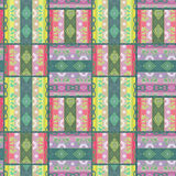 Patchwork seamless pattern floral ornamental Stock Photo