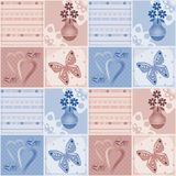 Patchwork seamless pattern with flowers in vase, hearts and butt Royalty Free Stock Images