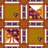 Patchwork seamless pattern with geometric and bow background Royalty Free Stock Photo