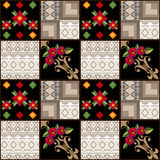Patchwork seamless pattern geometric elements background Stock Images