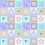 Patchwork seamless pattern with geometric elements background Royalty Free Stock Image