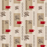 Patchwork seamless pattern with geometric elements and cup of co Royalty Free Stock Photos