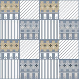 Patchwork seamless pattern with geometric elements retro backgro Royalty Free Stock Photo