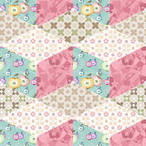 Patchwork seamless pattern with geometric elements retro backgro Royalty Free Stock Photos