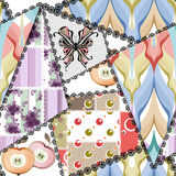 Patchwork seamless pattern with geometric elements retro backgro Stock Image