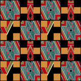 Patchwork seamless pattern geometric elements retro colors backg Royalty Free Stock Images