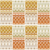 Patchwork seamless pattern geometric elements retro colors backg Stock Photo
