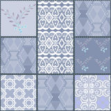 Patchwork seamless pattern with geometric elements retro colors Royalty Free Stock Image