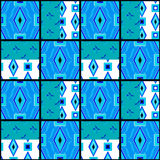 Patchwork seamless pattern with geometric elements retro colors Royalty Free Stock Photo