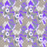Patchwork  seamless pattern gray background with bright elements. Royalty Free Stock Photos