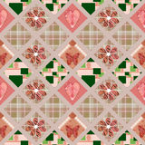 Patchwork seamless pattern with hearts and elements background Royalty Free Stock Photos