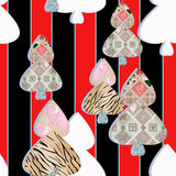 Patchwork seamless pattern with hearts and elements background Royalty Free Stock Photo