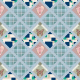 Patchwork seamless pattern with hearts and elements background Royalty Free Stock Photography