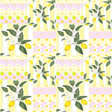Patchwork seamless pattern with lemons and flowers Stock Images