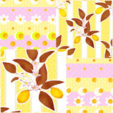 Patchwork seamless pattern with lemons and flowers Royalty Free Stock Photos