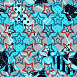 Patchwork seamless pattern ornament dotted starry design stars. Background Stock Photo