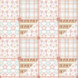 Patchwork seamless pattern ornament geometrical background Royalty Free Stock Photography