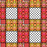 Patchwork seamless pattern ornament geometrical background Royalty Free Stock Images