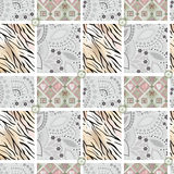 Patchwork seamless pattern ornament ornamental design background Stock Images