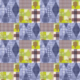 Patchwork seamless pattern ornament striped autumn background Stock Images