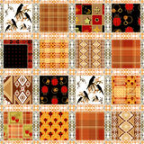 Patchwork seamless pattern parrots background Stock Photos