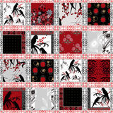 Patchwork seamless pattern parrots texture Stock Images