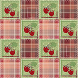 Patchwork seamless pattern with strawberry checkered background Stock Photography