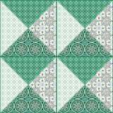 Patchwork seamless  pattern texture background. Patchwork seamless floral pattern texture green white  background Stock Photography