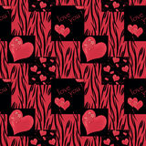 Patchwork seamless pattern texture red on black background. Royalty Free Stock Image